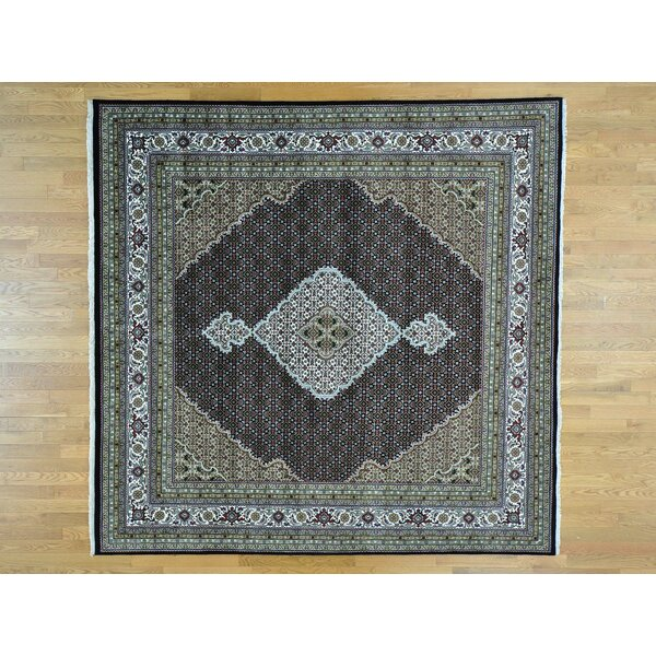 One-of-a-Kind Beaton All Over Design Handwoven Black Wool/Silk Area Rug by Isabelline