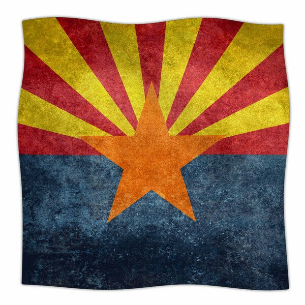 Arizona State Flag Retro Style by Bruce Stanfield Fleece Blanket by East Urban Home