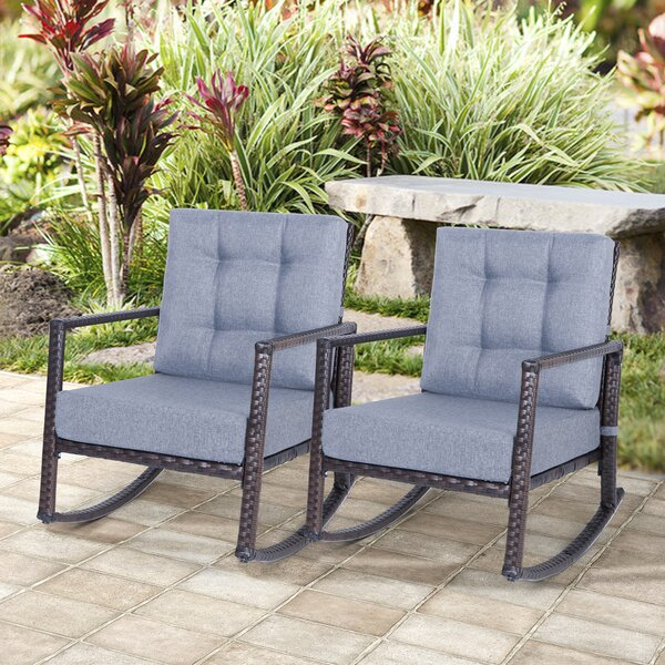 Swineford Outdoor Patio Rocking Chair with Cushions by Latitude Run
