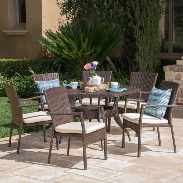 Outdoor 7 Piece Dining Set Cushions by Highland Dunes