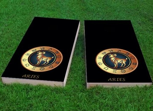 Zodiac Aries Themed Cornhole Game (Set of 2) by Custom Cornhole Boards