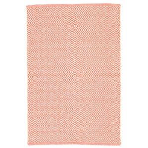 lattice cotton coral area rug