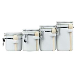 Wayfair Basics 4 Piece Ceramic Kitchen Canister Set. Black Red White