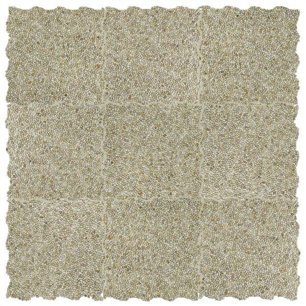 Kamyk Mini 12.25 x 12.25 Pebble Stone Mosaic Tile in Beige by EliteTile