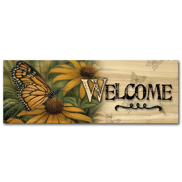 Welcome Monarch Butterfly Graphic Art Plaque by WGI-GALLERY