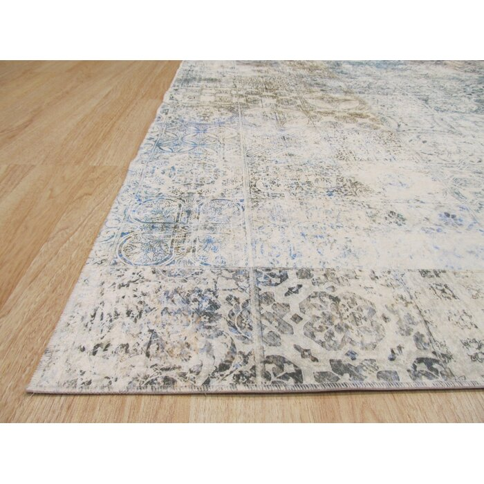 Phares Mosaic Distressed Gray White Area Rug