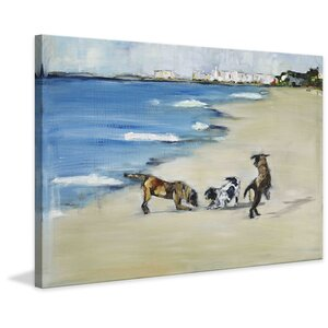 'Dogs' Play' Painting Print on Wrapped Canvas by Three Posts
