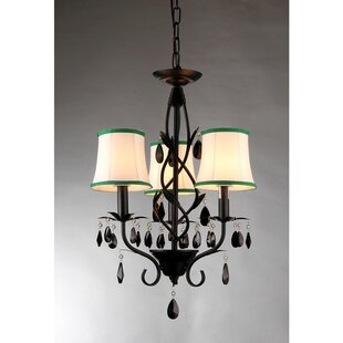 Reviews Keira 3-Light Shaded Chandelier By Warehouse of Tiffany