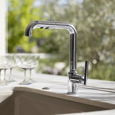 Sink Faucet Single Kitchen Pullout Polished Chrome photo