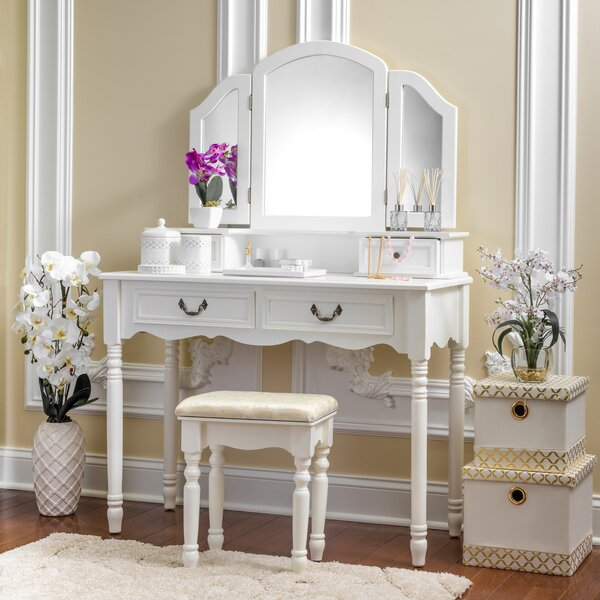 Wolfson Vanity Set with Mirror by House of Hampton