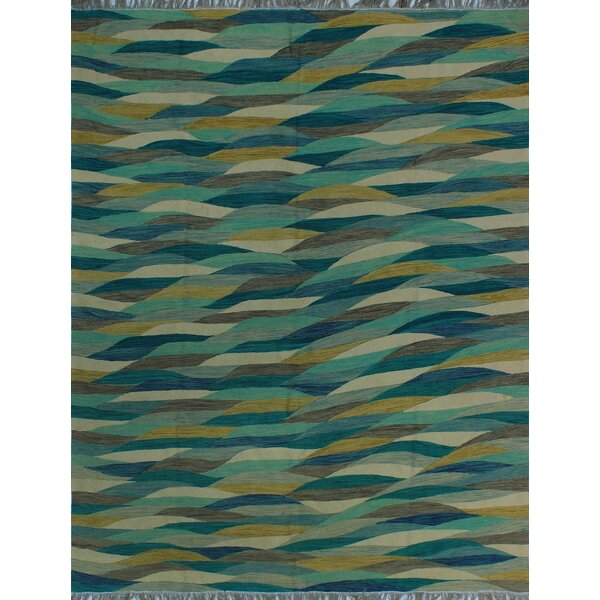 One-of-a-Kind Deb Kilim Hand-Woven Blue Are Rug by Isabelline