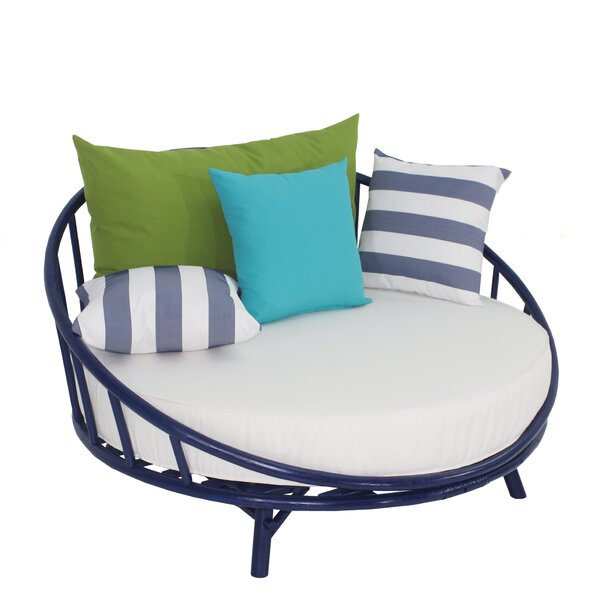 Olu Bamboo Large Round Patio Daybed with Cushions by Bayou Breeze