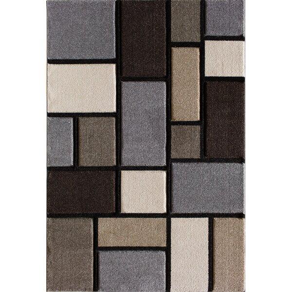 Badgett Gray/Brown Area Rug by Ebern Designs