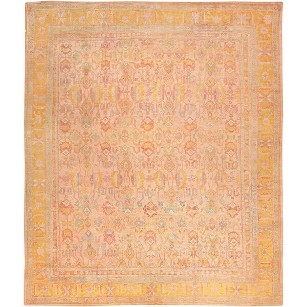 One-of-a-Kind Turkish Hand-Knotted 1900s Gold 14'7 x 17'6 Wool Area Rug