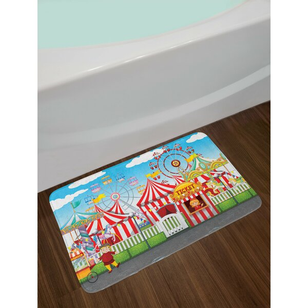 Circus Carnival with Many Rides and Shops Illustration Landscape and Cloudy Sky View Print Non-Slip Plush Bath Rug by East Urban Home