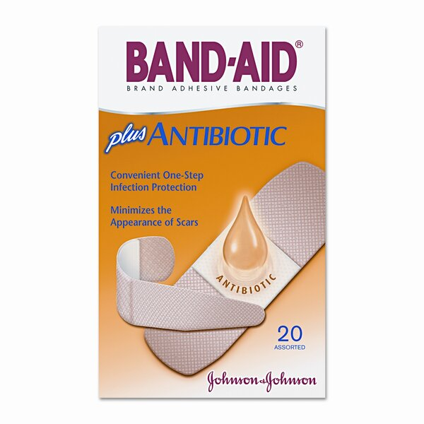 Antibiotic Adhesive Bandages, Assorted Sizes, 20 per Box by Johnson & Johnson