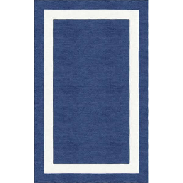 Harlem Border Hand-Tufted Wool Navy Blue/White Area Rug by Red Barrel Studio
