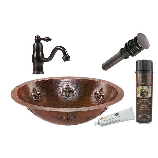 Fleur De Lis Metal Oval Undermount Bathroom Sink with Faucet by Premier Copper Products