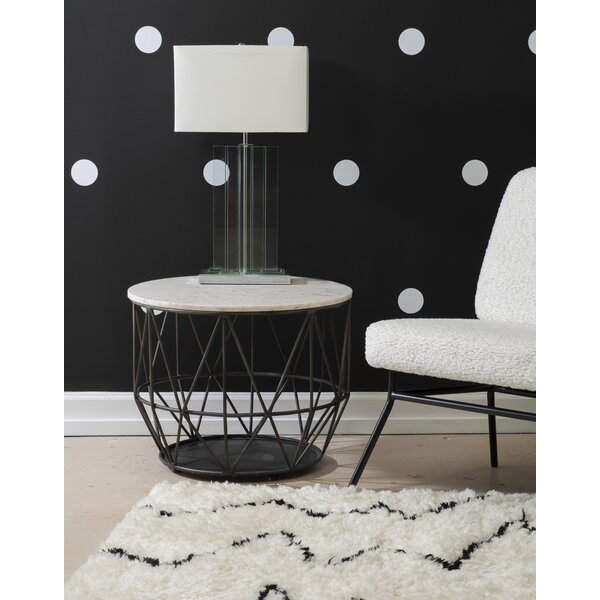 Moua Marble Top Drum End Table By Everly Quinn