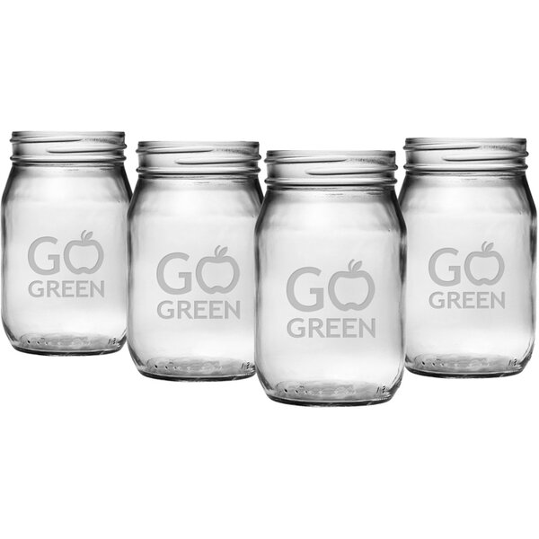 Go Green Drinking Jar (Set of 4) by Susquehanna Glass