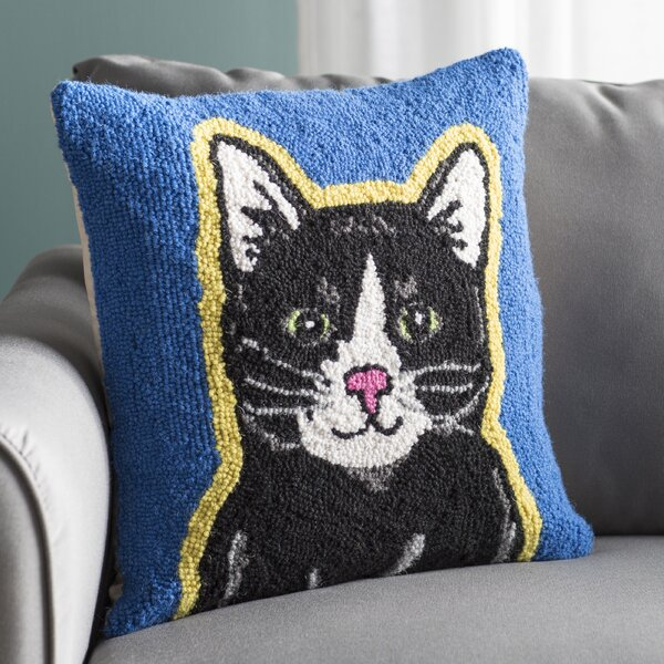 Alison Cat Hook Wool Throw Pillow by Archie & Oscar