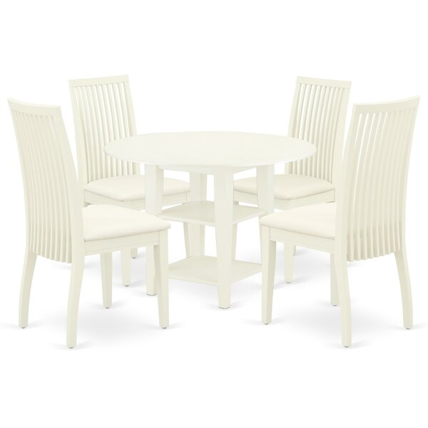 Kroh 5 Piece Drop Leaf Solid Wood Dining Set by Winston Porter Winston Porter