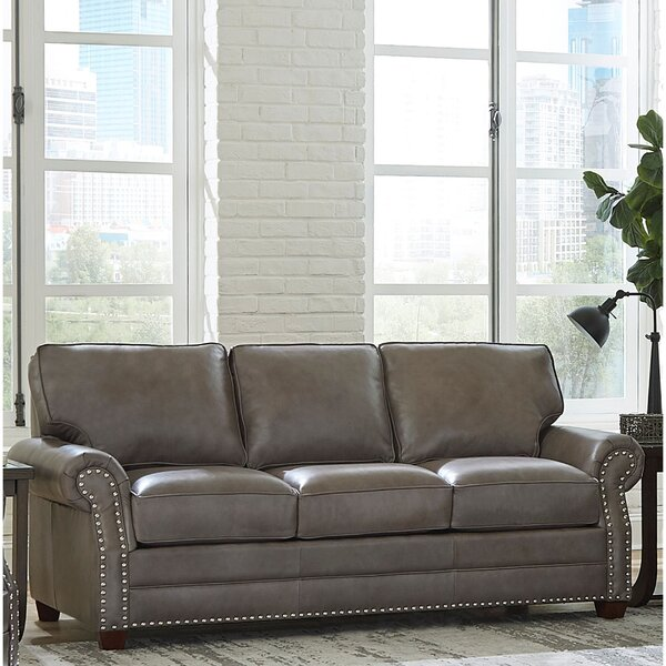 Price Compare Pedigo Leather Sofa by Canora Grey by Canora Grey