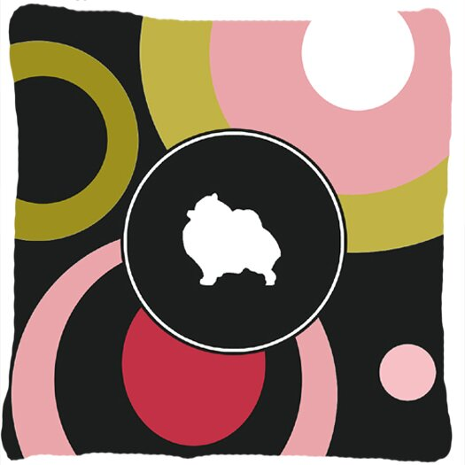 Pomeranian Indoor/Outdoor Black/Pink Throw Pillow