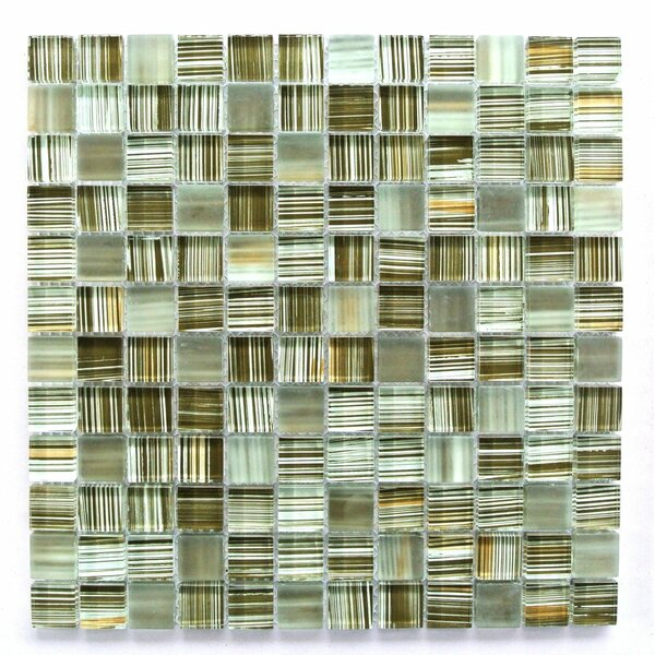 Handicraft 1 x 1 Glass Mosaic Tile in Brown/Green/Beige by Abolos