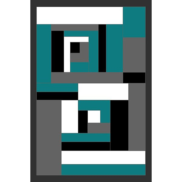 Cosner Turquoise/Gray Area Rug by Ebern Designs