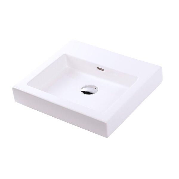Aquaplane White Rectangular Vessel Bathroom Sink with Overflow