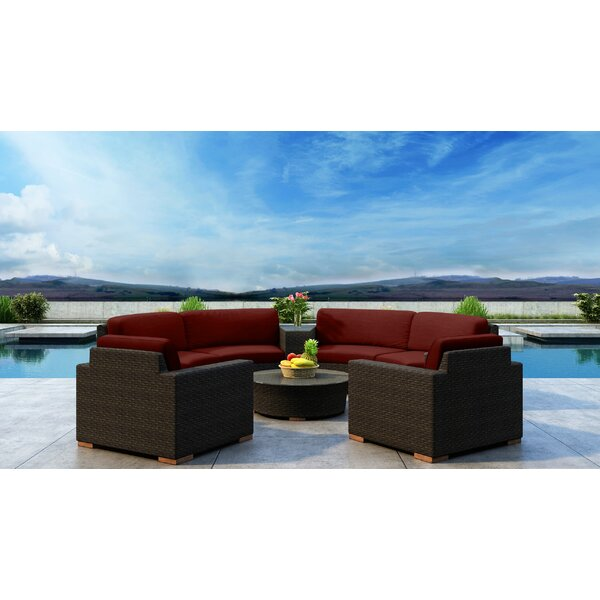 Glen Ellyn Rattan Sectional Seating Group with Sunbrella Cushion by Everly Quinn