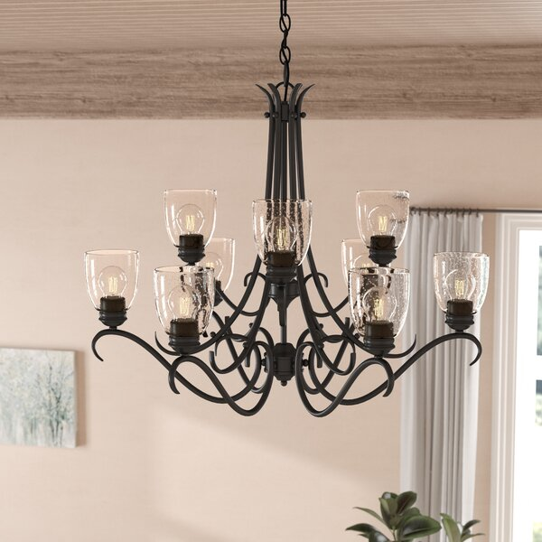 Sheila 9 - Light Shaded Tiered Chandelier by Laurel Foundry Modern Farmhouse Laurel Foundry Modern Farmhouse