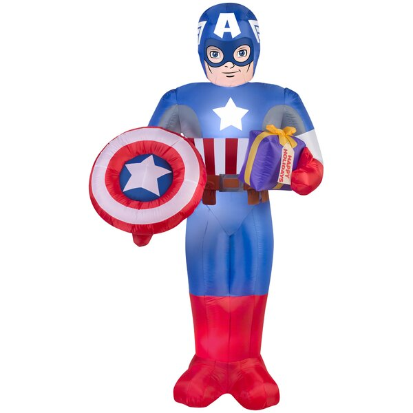Airblown Captain America with Present and Shield Large Marvel Inflatable by Gemmy Industries