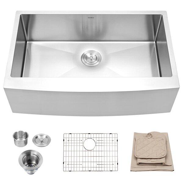 33 L x 21 W Farmhouse Kitchen Sink with Basket Strainer