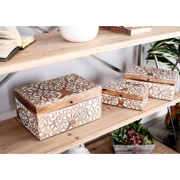 Lemoore Carved Tree Natural 3 Piece Decorative Box Set with Lid by Bungalow Rose