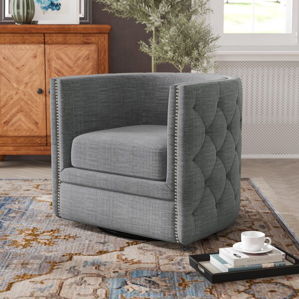 Lavaca Swivel Barrel Chair by Greyleigh