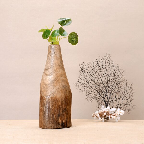 Gustave Hand Carved Natural Mango Wood Table Vase by World Menagerie
