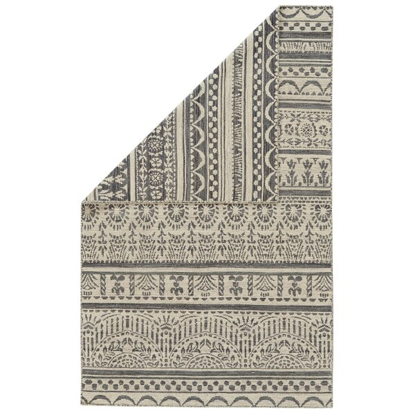Reiber Hand-Woven Wool Charcoal/White Area Rug by Bloomsbury Market