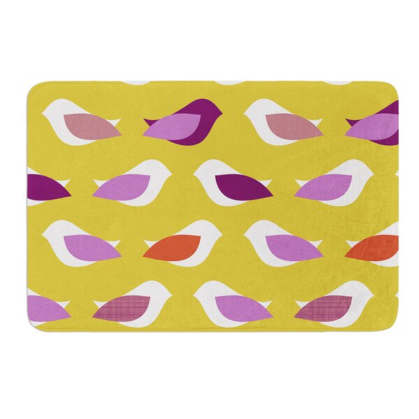 Golden Orchid Birds by Pellerina Design Bath Mat by East Urban Home