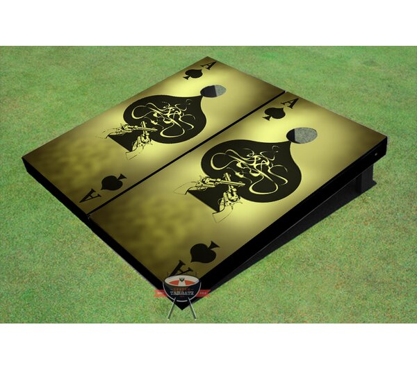 Ace of Spade Grunge Cornhole Board (Set of 2) by All American Tailgate