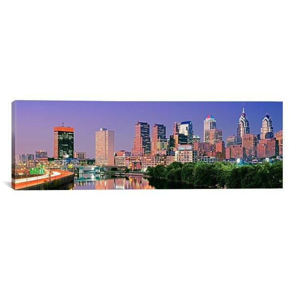 Philadelphia, Pennsylvania Panoramic Night Skyline,  Photographic Print on Canvas in Purple and Orange by iCanvas