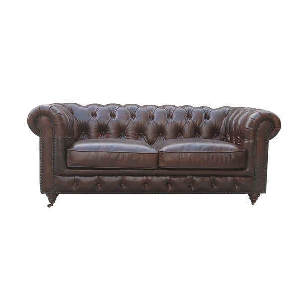 Deshazo Leather Chesterfield Loveseat by 17 Stories