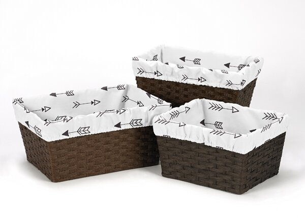 Fox Arrow Print 3 Piece Basket Liner Set by Sweet Jojo Designs