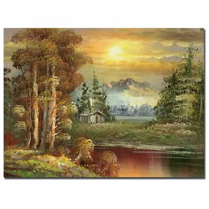 'Sunset in Yellowstone' by Rio Painting Print on Canvas by Trademark Fine Art