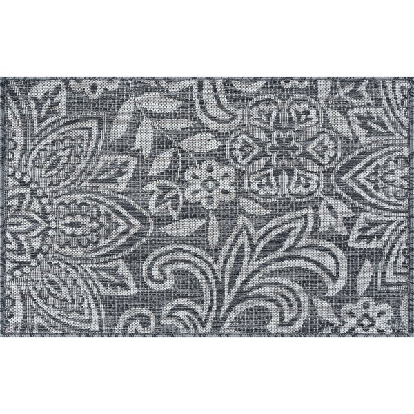 Koby Transitional Floral Charcoal Indoor/Outdoor Area Rug by Red Barrel Studio