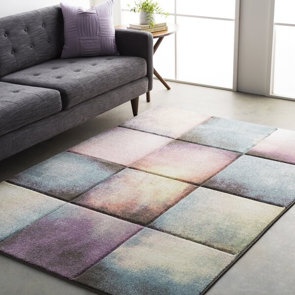 Mott Street Modern Geometric Carved Teal/Purple Area Rug by Wrought Studio
