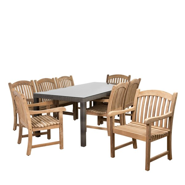 Elsmere Patio 9 Piece Teak Dining Set by Beachcrest Home