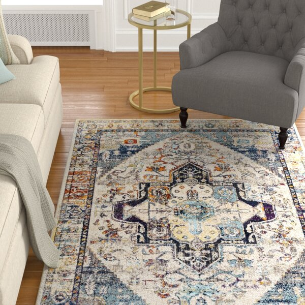 Sam Distressed Vintage Teal/Ivory Area Rug by Charlton Home