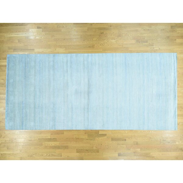 One-of-a-Kind Bester Grass Design Handwoven Blue Wool/Silk Area Rug by Isabelline